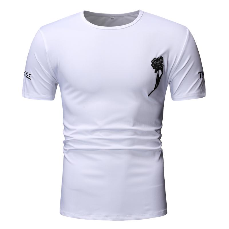 Summer Men T Shirt Short Sleeve Embroidery Print T Shirt Casual Fashion Male Tops Mens Clothing