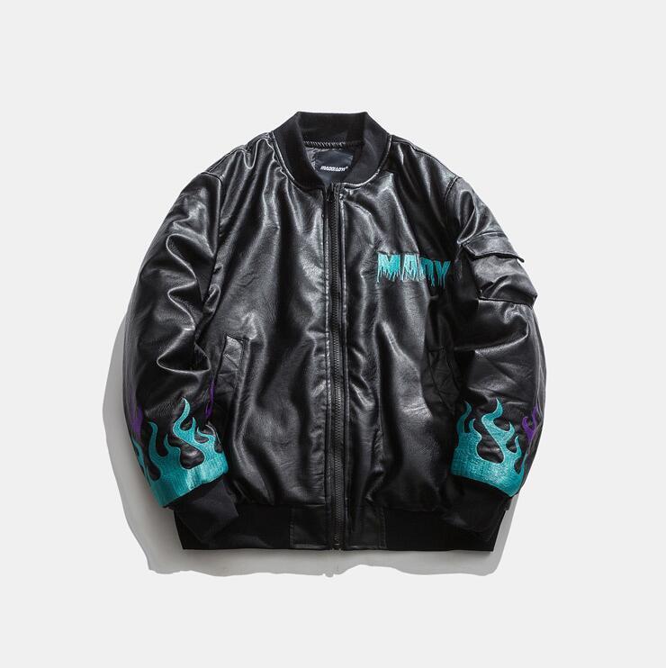 Unique Mens PU кожаная мягкая куртка мода бейсбольная вышивка хип-хоп теплый полный полное покрытие на молнии повседневные вершины густые вершины 373