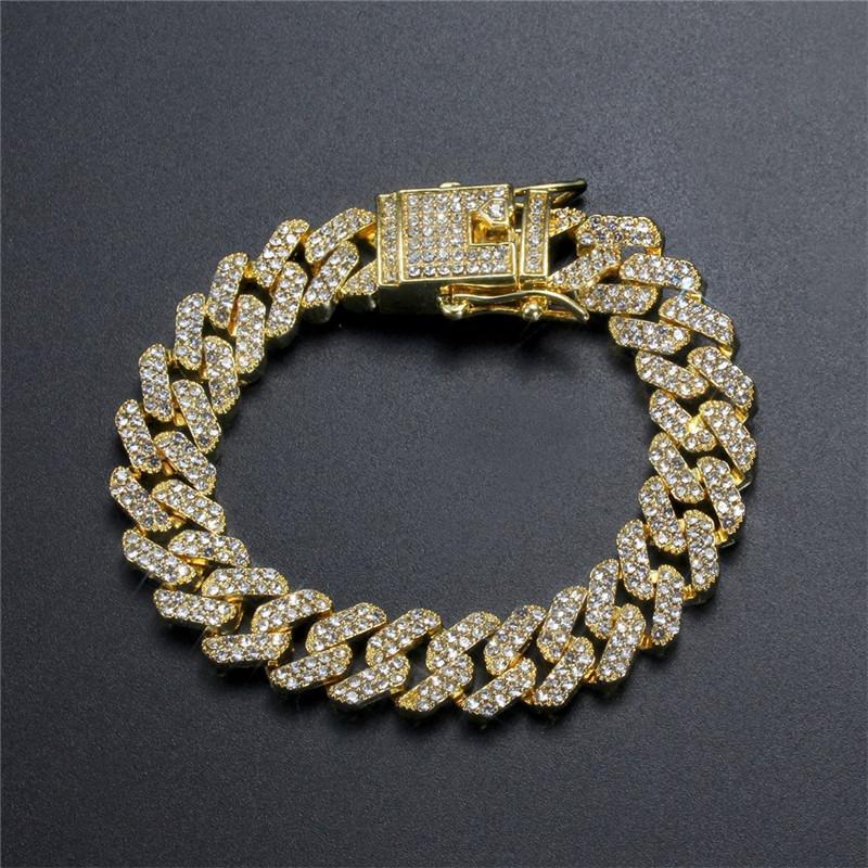 12 mm 7/8 pulgadas de oro chapado con hielo, bling de piedra cúbica pulseras de joyería de moda para hombres mujeres