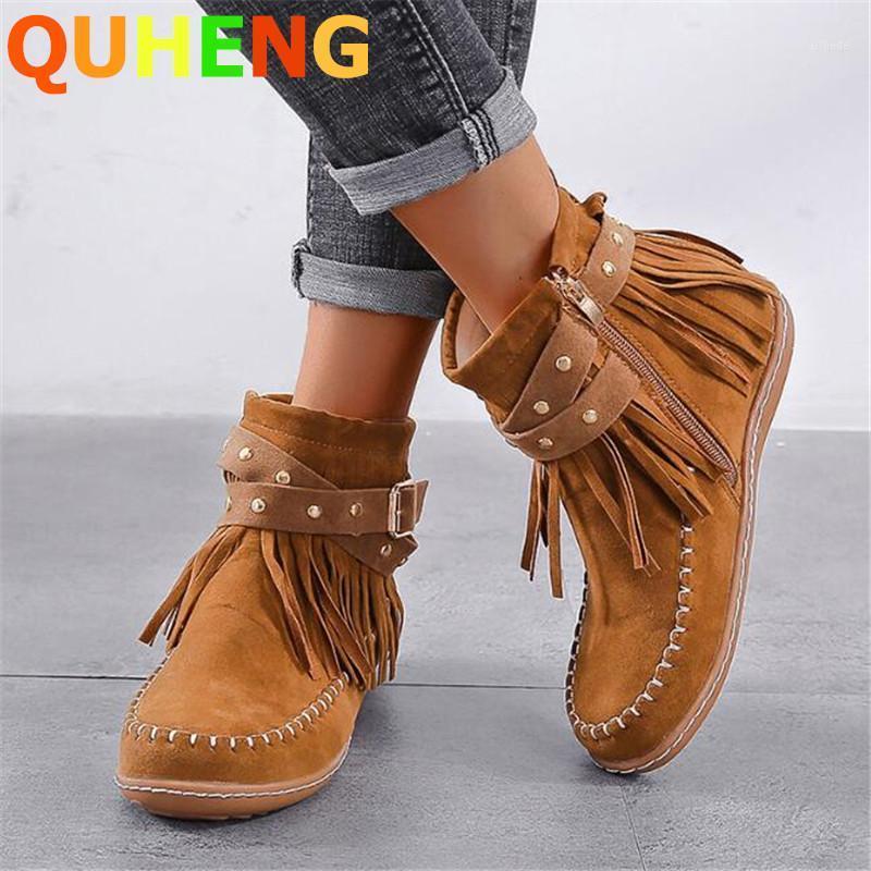 Stivali da donna in pelle scamosciata da donna corta autunno signore tonda testa laterale zip retrò tacco piatto caviglia moda nappa fibbia femmina scarpe1