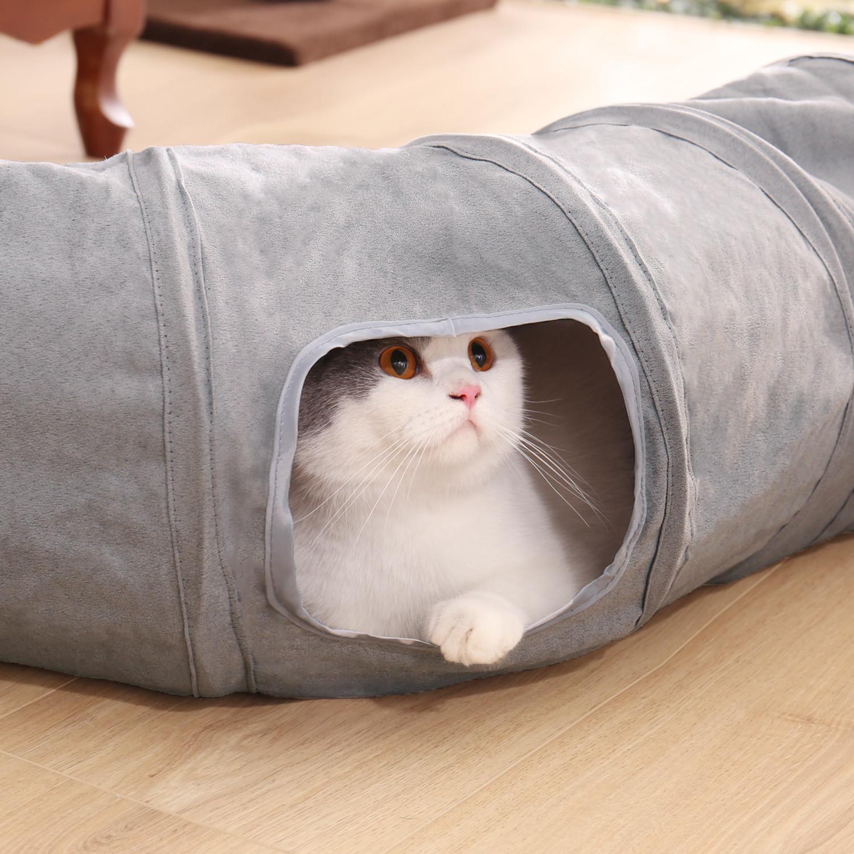 2020 Yeni Katlanabilir Kedi Tüneli Kedi Oyuncaklar Oyun Tünel Dayanıklı Süet Hideaway S Şekli Pet Kırışık Tünel ile Topu Pet Kitter Toy LJ201125