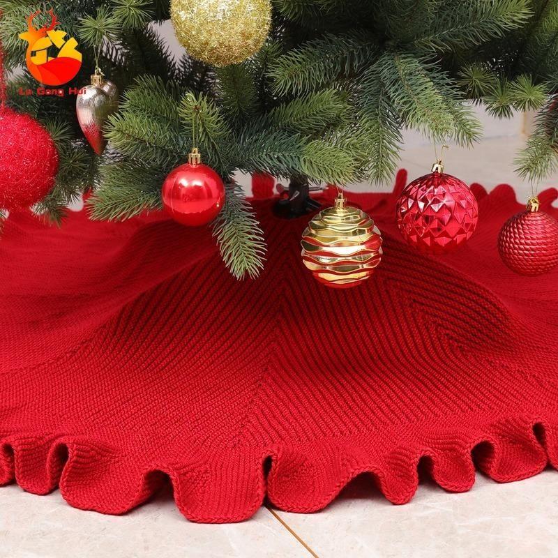 New Christmas Decorations High Grade Frilly Knit Tree Skirt Christmas Supplies Tree Bottom Apron Home Decor