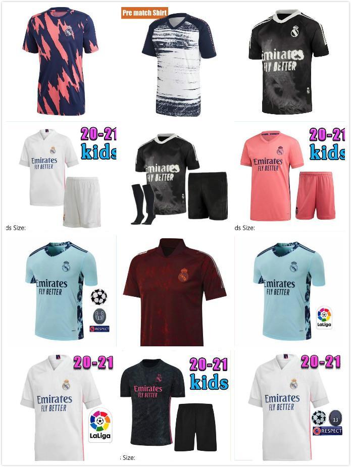 2021 Applicable au Real Madrid Hazard Ventilateurs MoDric Home Rose Noir Gardien de but Ramos Men Soccer Jersey Camiseta de Fútbol Shirt de football 20 21