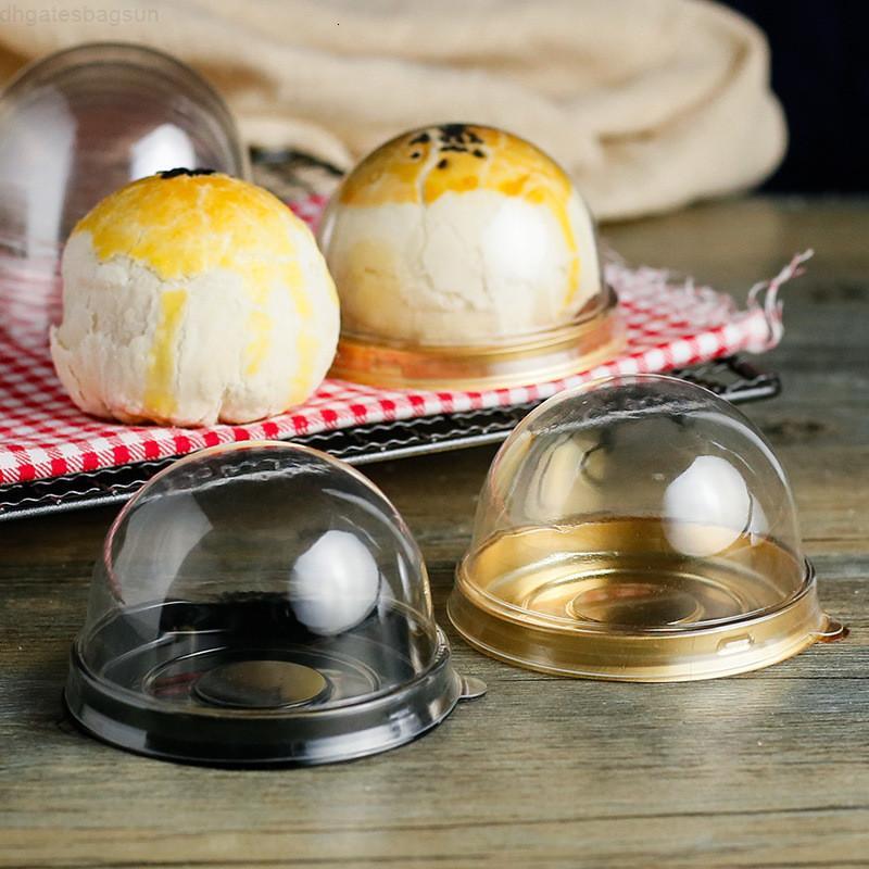 Factory price Round Box Single Individual 2pcs=1set Moon Cake Tray Plastic Mooncake Pvc Food Gift Packaging Boxes