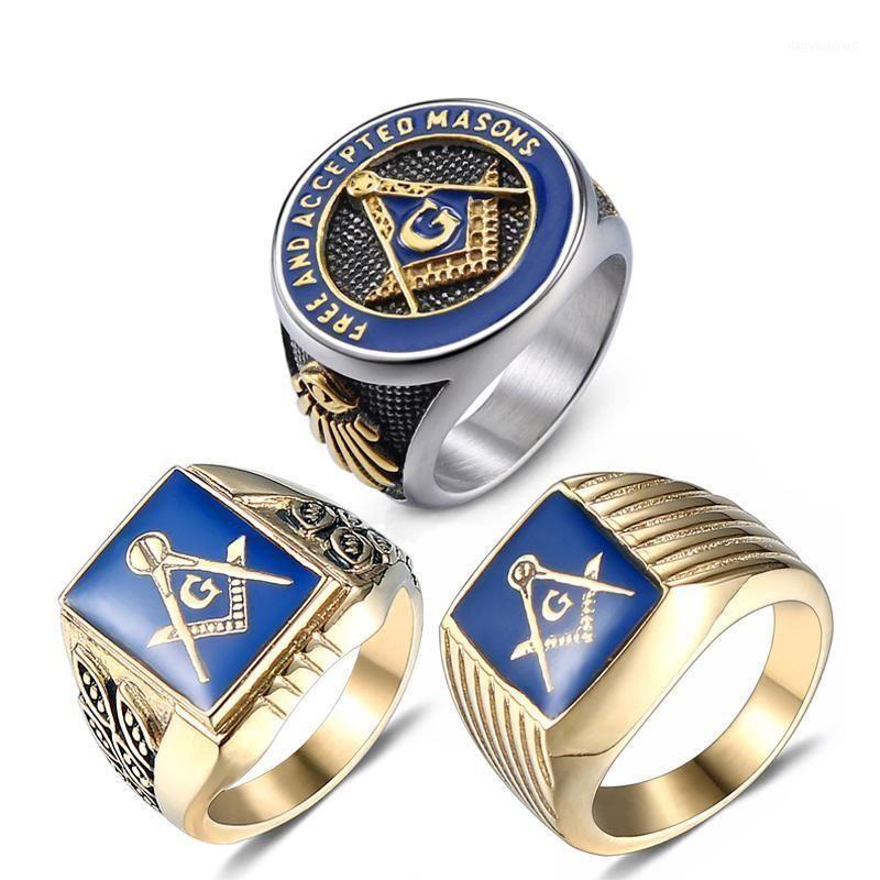 Masonik Yüzük Ücretsiz Mason Paslanmaz Çelik Masonluk Yüzük FreeMason Altın Erkekler Için AG Takı Punk Mavi Emaye Kalite Boyutu 8-131