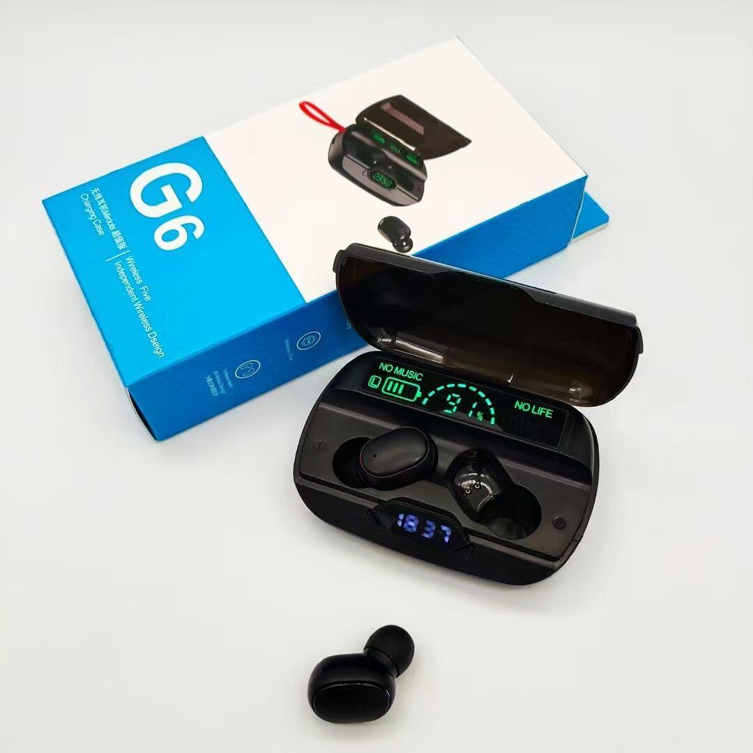 G6 Cuffie wireless Bluetooth con microfono multimetro TWS Auricolari Bluetooth Bluetooth 2200mAh Cabina di ricarica per Samsung Xiaomi Huawei