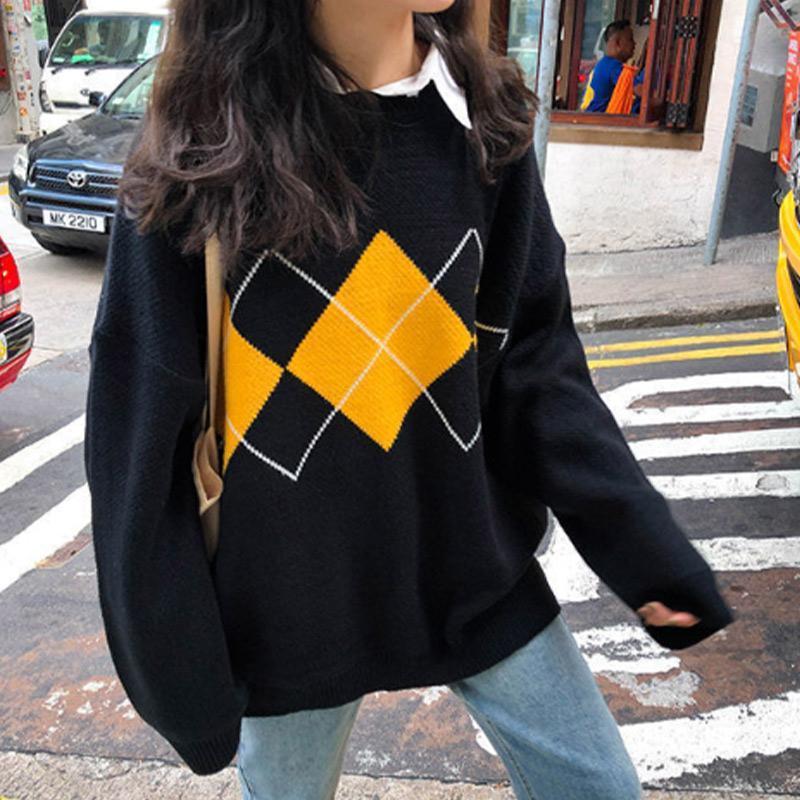 Argyle imprimés Contrast Pull de femme à manches longues O col de chaud Femme Pullovers 2020 Automne Hiver Étudiant Sweet Lady Pull