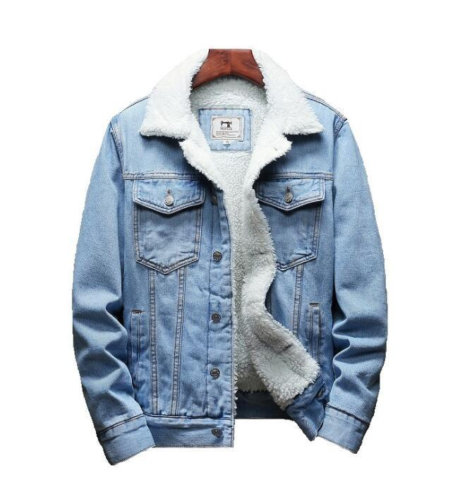 Homens luz azul inverno jean jaquetas Outerwear Warm Denim Casacos Novos Homens Tamanho Grande Liner Liner Thicker Winter Denim Casacos