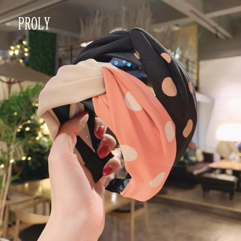 PROLY Yeni Moda Kadınlar Kafa Geniş Yan Nokta Nokta Hairband Çapraz Knot Turban Yetişkin Casual Şapkalar Saç Aksesuarları