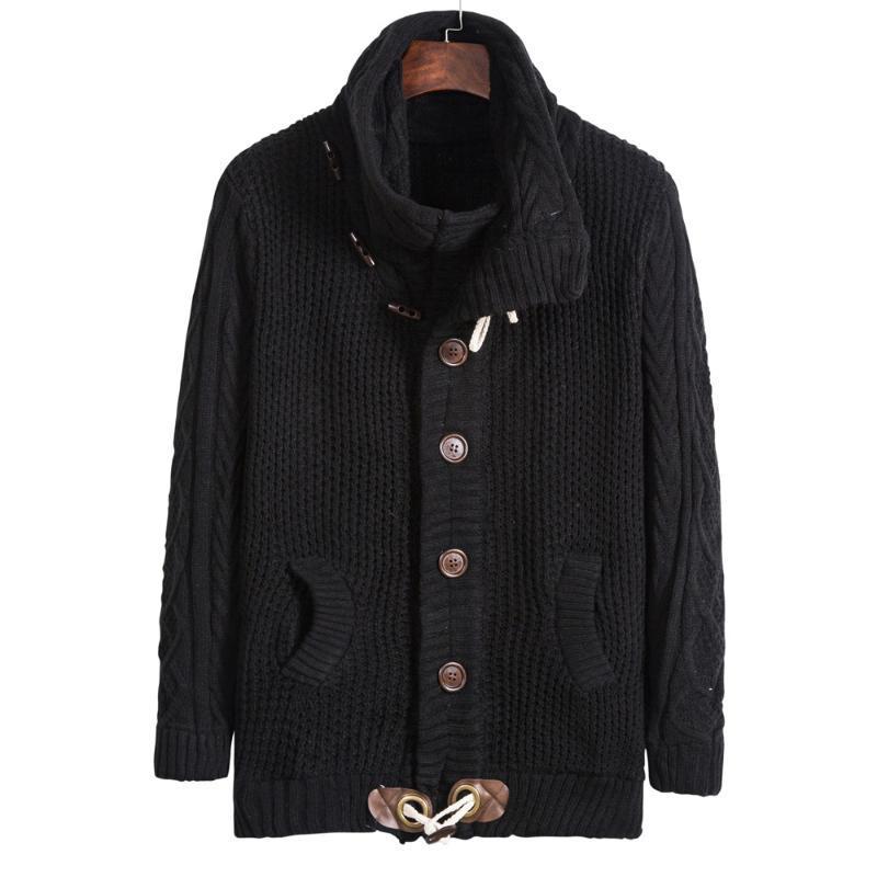 La mitad de los hombres de cuello alto de lana Cardigan invierno gruesa otoño caliente Amplio Sin Yq Ropa de punto Casual Male suéter envío de la gota