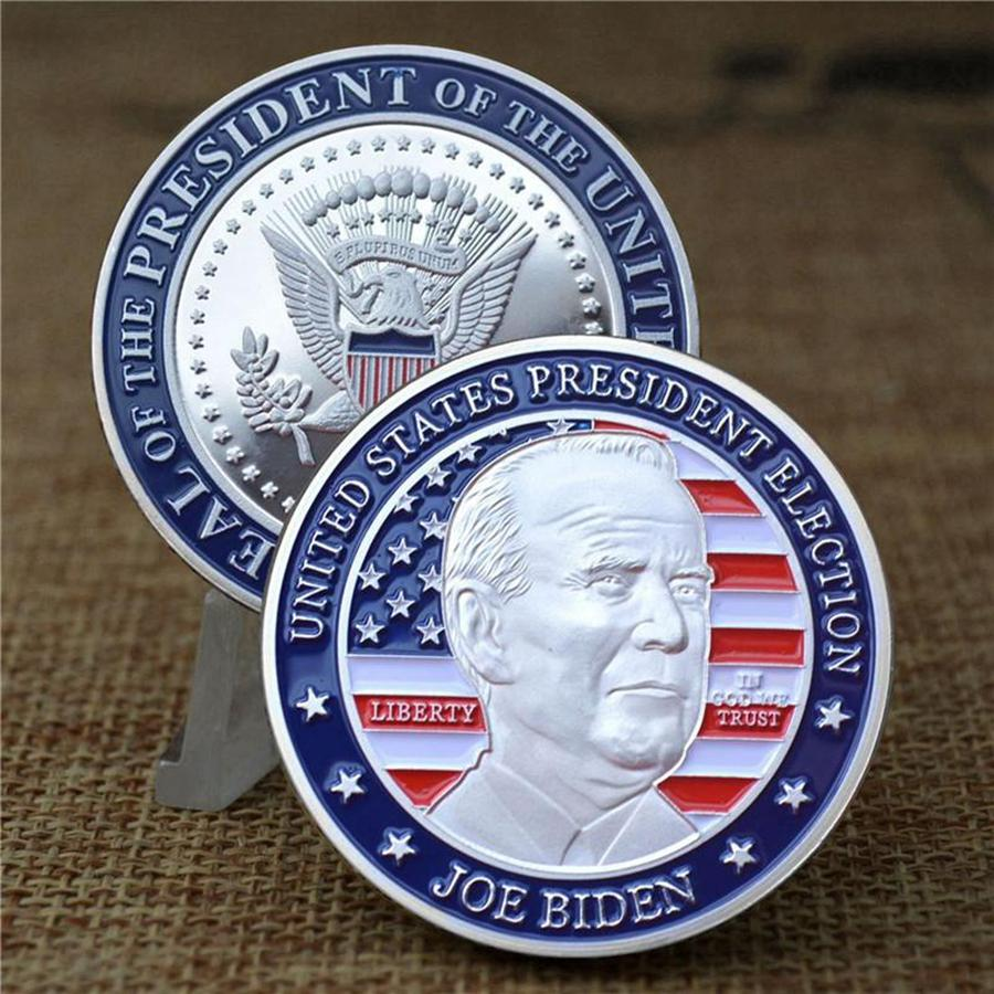 Biden Presidente Moneta Commemorativa Nazionale Bandiera metallo Souvenir da collezione Monete Collezione dell'America Joe Biden Distintivo Arte Artigianato DDA782