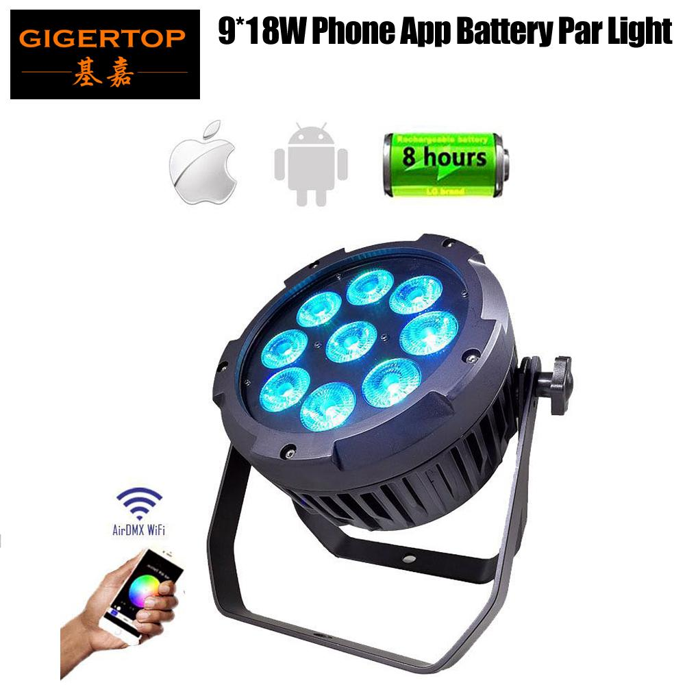 Freeshipping TIPTOP 9x18W Phone App Wifi étanche LED Par Seetronic Socket Plug-RGBWA UV 6in1 Couleur 13200MAH Batterie Utilisation à l'extérieur