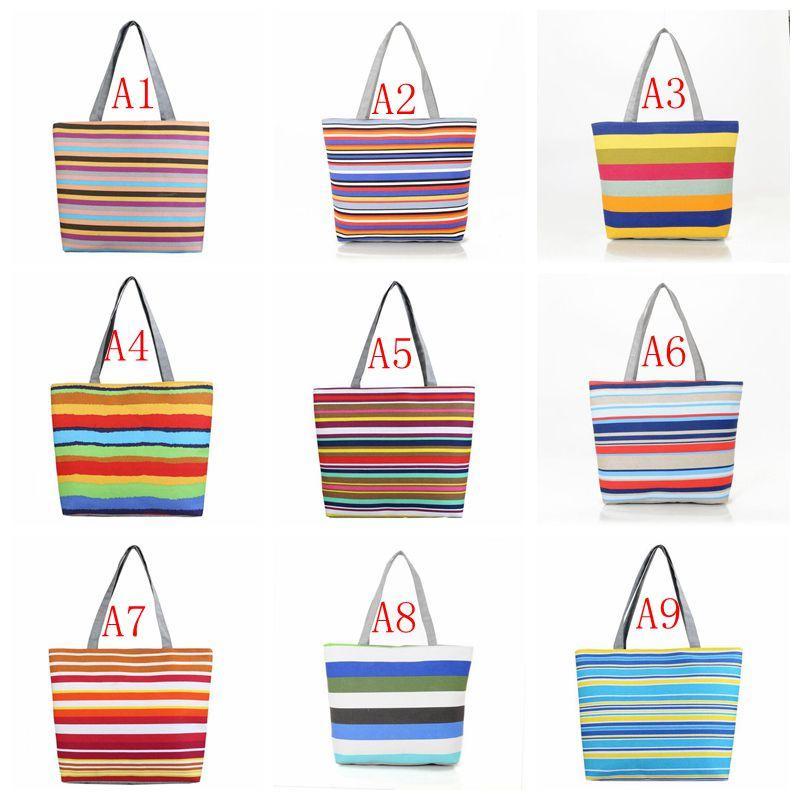 Gestreifte Canvas-Shopper-Tasche Shopping Lässige Drucke Strandtaschen Tote Mädchen Schulter Frauen Damen Multifunktions-Regenbogen-Tasche Handtasche Vjoti