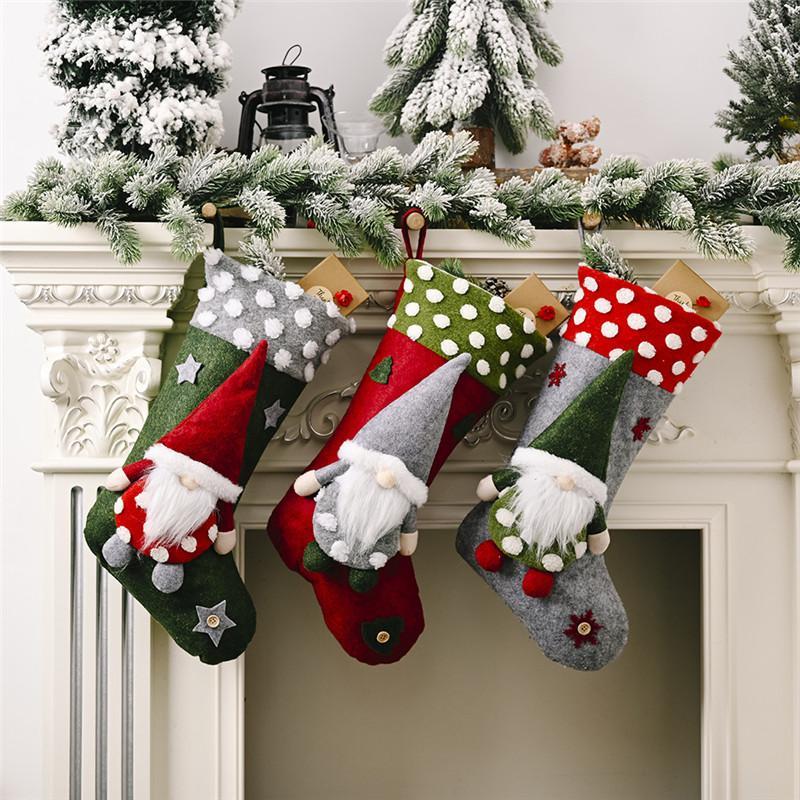أفخم عيد الميلاد الجورب هدية حقائب كبيرة الحجم مشبك حقيبة كاندي Xams الديكور شجرة الجوارب زخرفة عيد الميلاد هدية التفاف 30PCS T1I2857