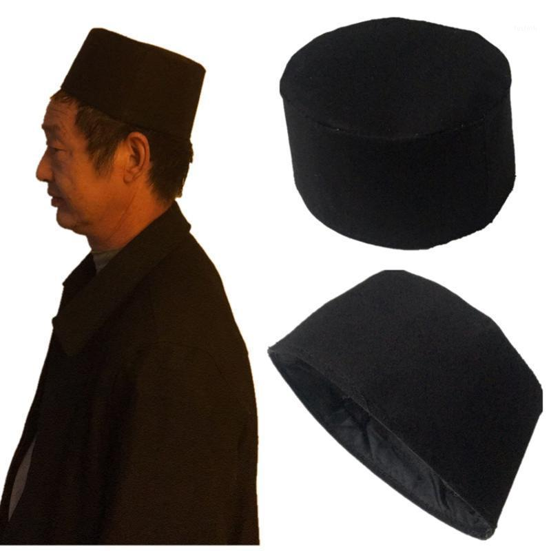 Invierno Musulmán Tradicional Cap Redondo Reza Sombrero Accesorios islámicos Hombre Árabe Turco Topi Kufi Algodón Cálido Ramadán Hat1