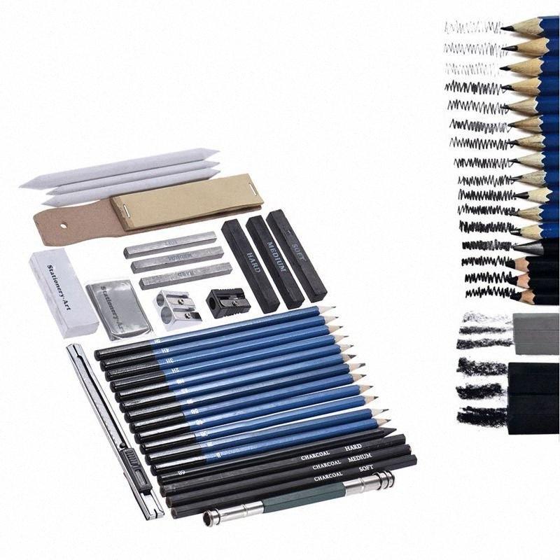 33 piezas del dibujo de lápiz profesional de dibujo a lápiz grafito de carbón Kit bosquejo Lápices Sticks borradores de escritorio Dibujo Suppli GBEA #