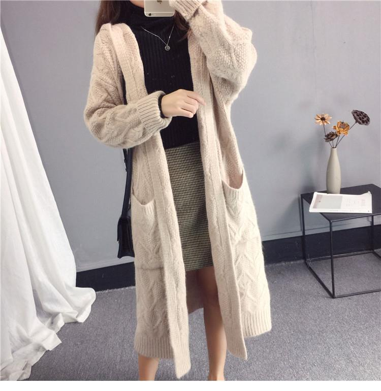 Women Long Sleeve Hooded Long Sweater Loose Knitted Sweater Coat Women Thick Cardigans Long Sweater Jumper Women Cape 201016