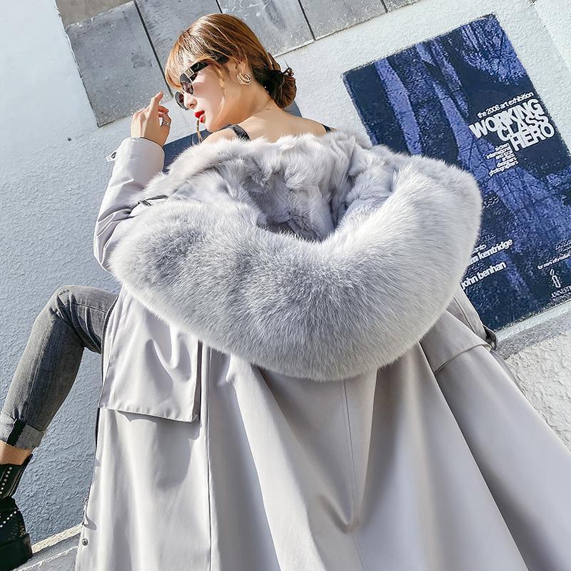Oftbuy 2021 New Parka в Мехе Женщины 1 Мех натуральный слой Верхняя одежда 3-х капюшовый Толстый теплый лайнер Fox Streetwear Куртка Настоящие зимние Rekae