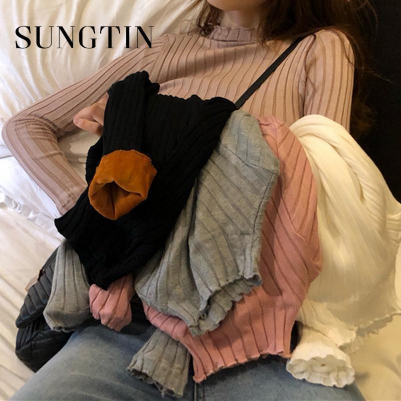 Sungtin de invierno de terciopelo con capucha suéteres de las mujeres Delgado-Ajuste apretado acanalado suéter de cuello alto de punto de Corea Nueva Mujer de manga larga