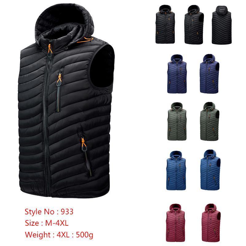 2020 Autunno Inverno Uomo Completamente Cappotto di Allenamento Cappotto di cotone con cappuccio Blu Red Black Coat Green Solid Color Vest 933 M-4XL