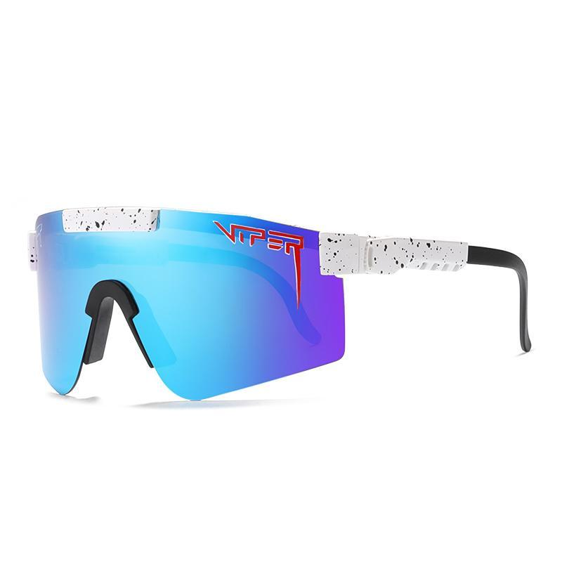 Lente superdensível ajustável à prova de vento POLARIZED PV01-C10 homens / mulheres víbora azul espelhado pit óculos de sol para quadro ppnrw