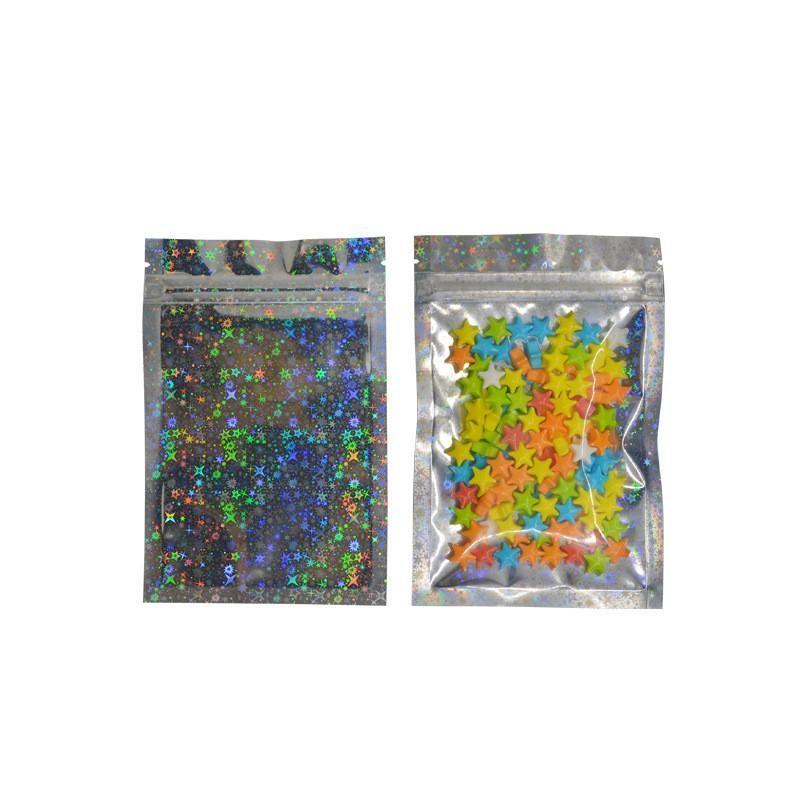 스타 레이저 음식 패키지 가방 Resealable 냄새 증거 가방 호일 주머니 가방 플랫 마일러 가방 반짝이가있는 홀로그램 색상
