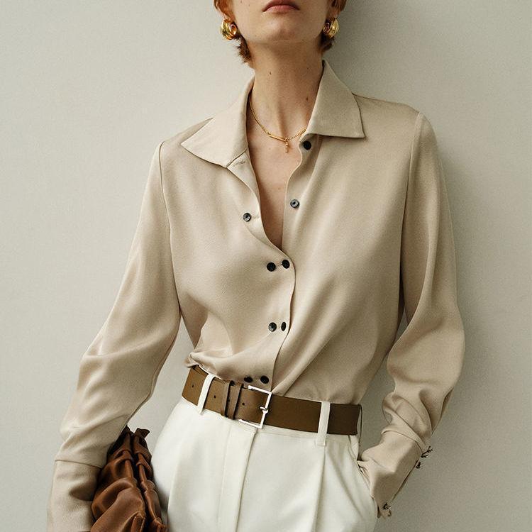 المرأة البلوزات القمصان بلون الساتان المرأة 2021 الأزياء طويلة الأكمام رفض طوق مكتب قميص بلوزة عارضة قمم femininas blusa