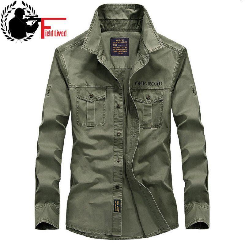 2020 nuove camice casuali Mens stile militare dell'esercito tattico maniche lunghe abito marchio di abbigliamento Slim Army camicia maschile Verde Khaki Navy