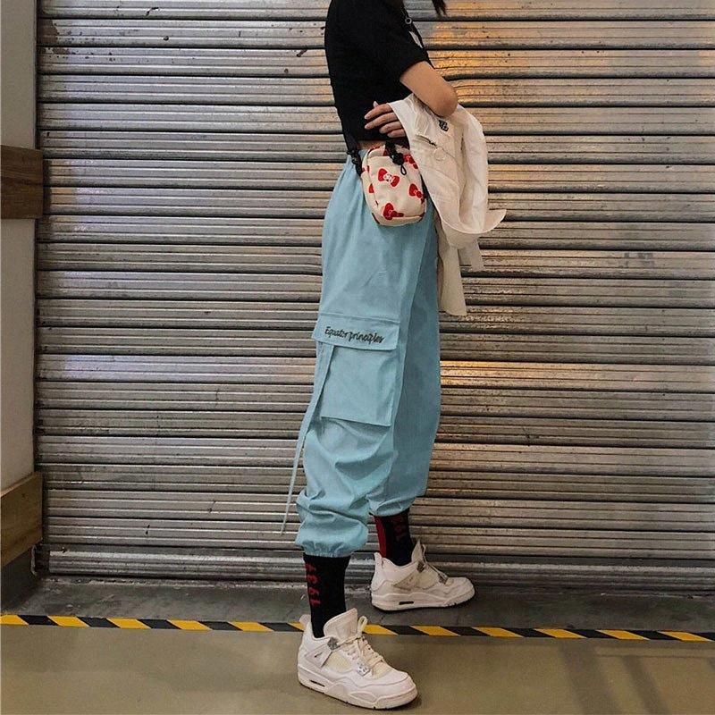 Le ressort de plateau de pantalon de jogging de femmes et d'automne noir blanc rouge vert violet pantalons féminins dames étudiants PANTALONES nouvelles Y2004 I0di #