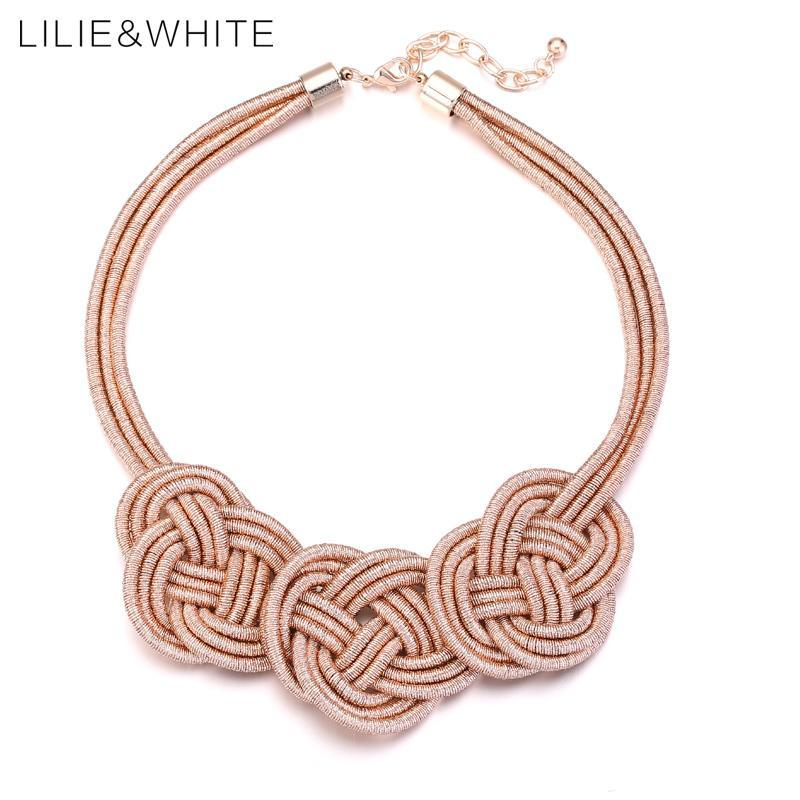 LILIE&WHITE Auspicious Clouds Knot Collar Bib Statement Necklace For Girls Ethnic Style Rope Necklace For Women Jewelry