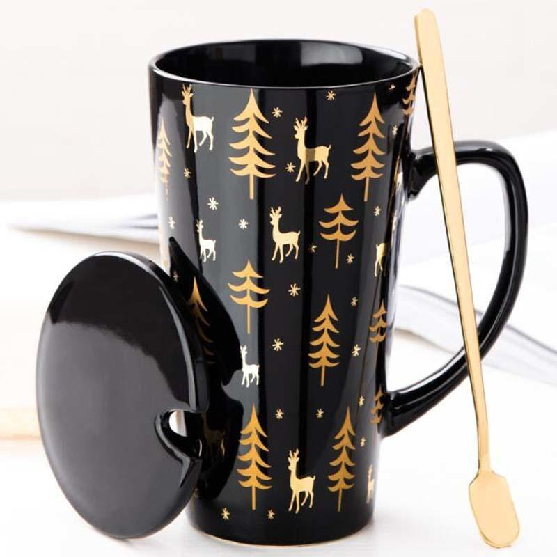 Creative Black White Mug Set Couple Cup with Lid Spoon Personality Milk Juice Coffee Tea Water Cups Easy Carry Travle Home Mug T200506