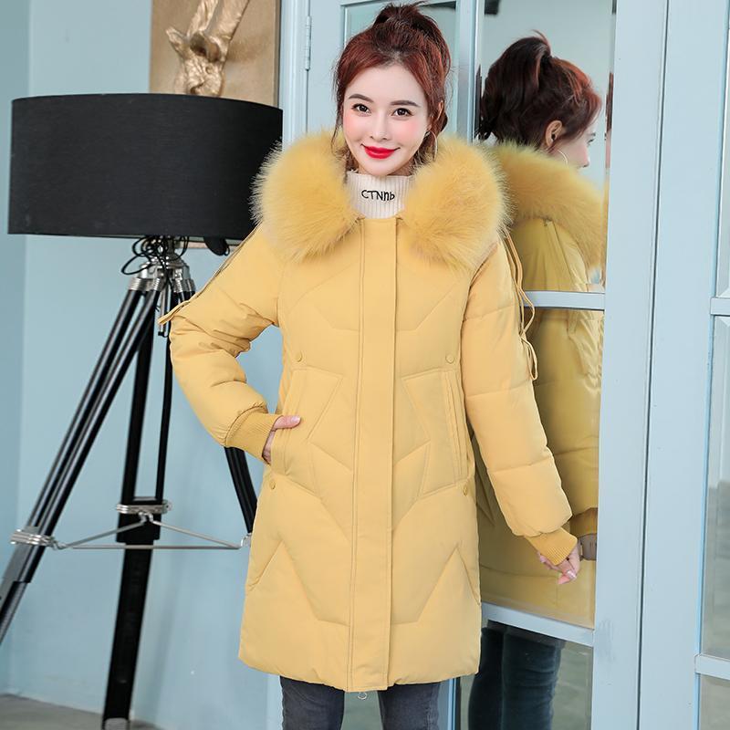 여성용 파카스 여성 겨울 단색 두꺼운 지퍼 미드 - 긴 스타일 큰 모피 따뜻한 방풍 재킷 여성 크기 M-3XL에 대한 스노우 코트