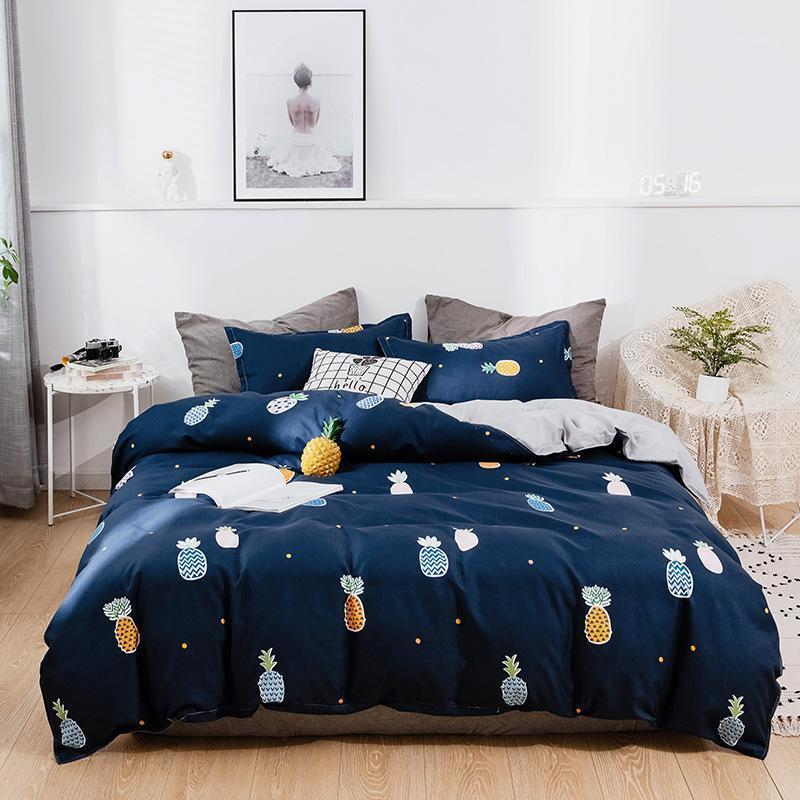 Denisroom Blue Bedding Set Pinapse кровать белья милая пододеяльник набор удобной спальни EW65 # 1