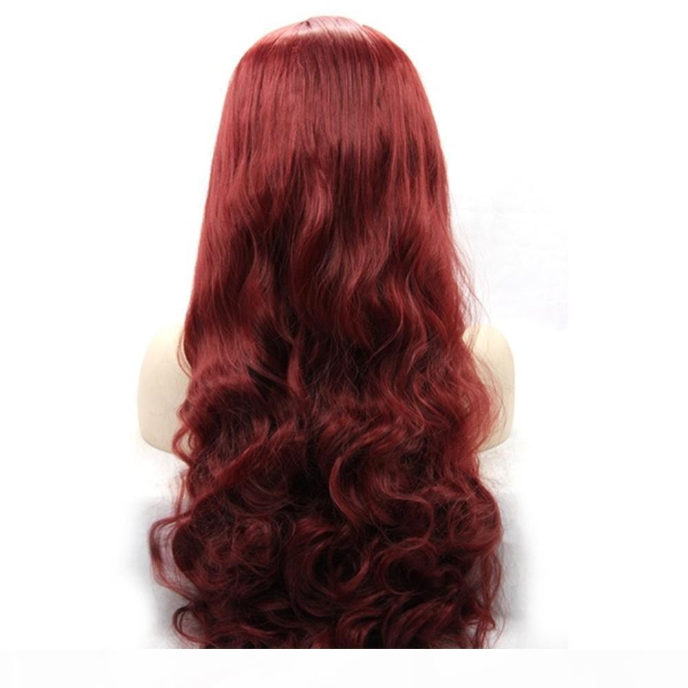 Kadınlar için Burgonya Şarap Kırmızısı Uzun Vücut Dalga Saç Tutkalsız Sentetik Dantel Açık Peruk Isıya Dayanıklı Fiber Saç% 180 Yoğunluk