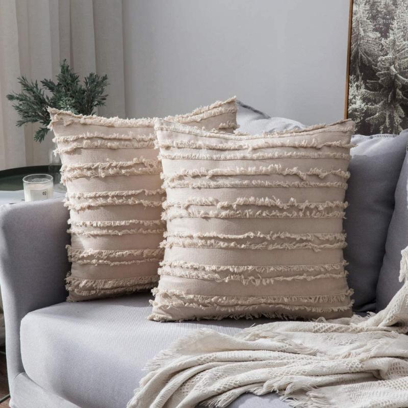 Boho Throw Almohada Cubiertas de algodón Lino Decorativo Funda de almohada Raya Jacquard Cojín Funda para Sofá Sofá Sala de estar Decoración de la casa1