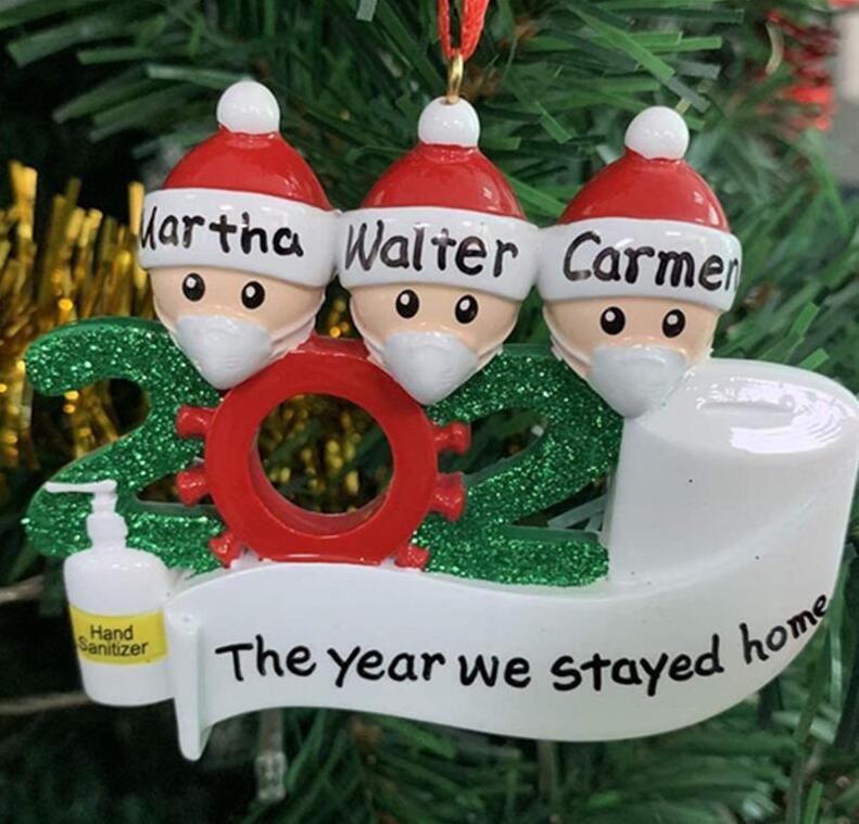 Рождественский кулон Дерево Карантин Семейный подарок 2020 Фабрикаэйфсдопорение орнамента с смолой Маска Рука канифицирована