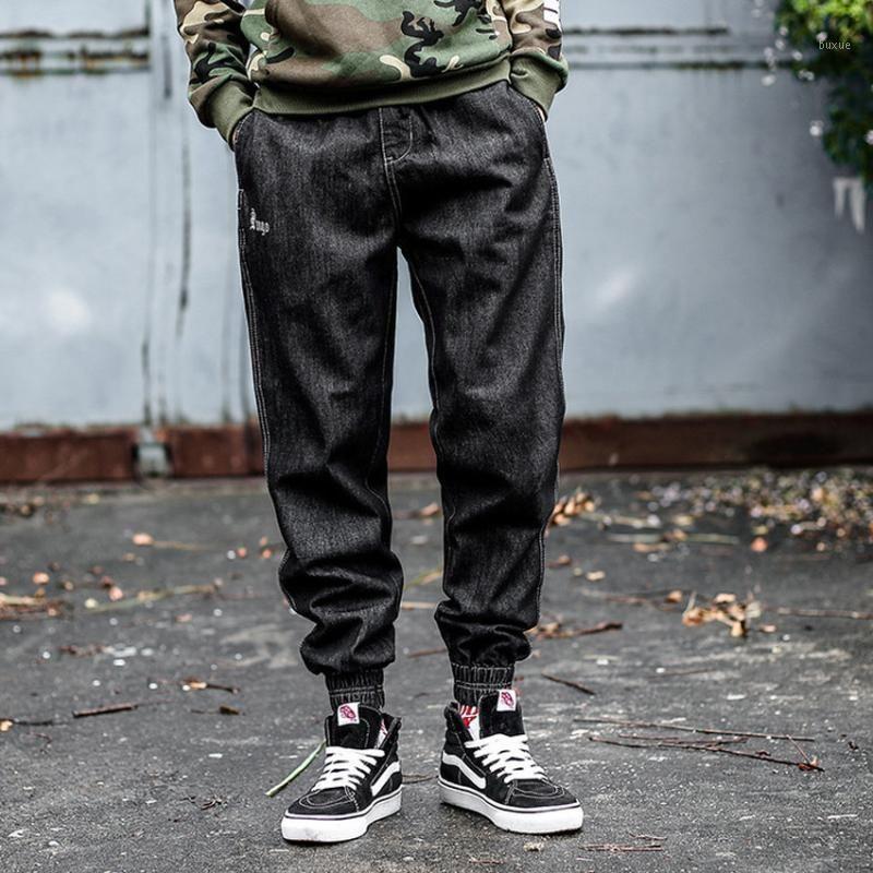 Джинсовые джинсы для мужчин хип-хоп Harem брюки джинсовые мужчины Свободная уличная одежда черные джинсы1