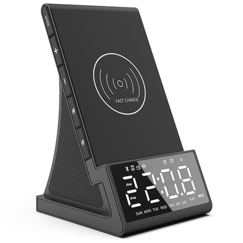 Alarm Clock com Wireless carregamento Base Dock Bluetooth Speaker Night Light USB Carregador Rápido EUA plug