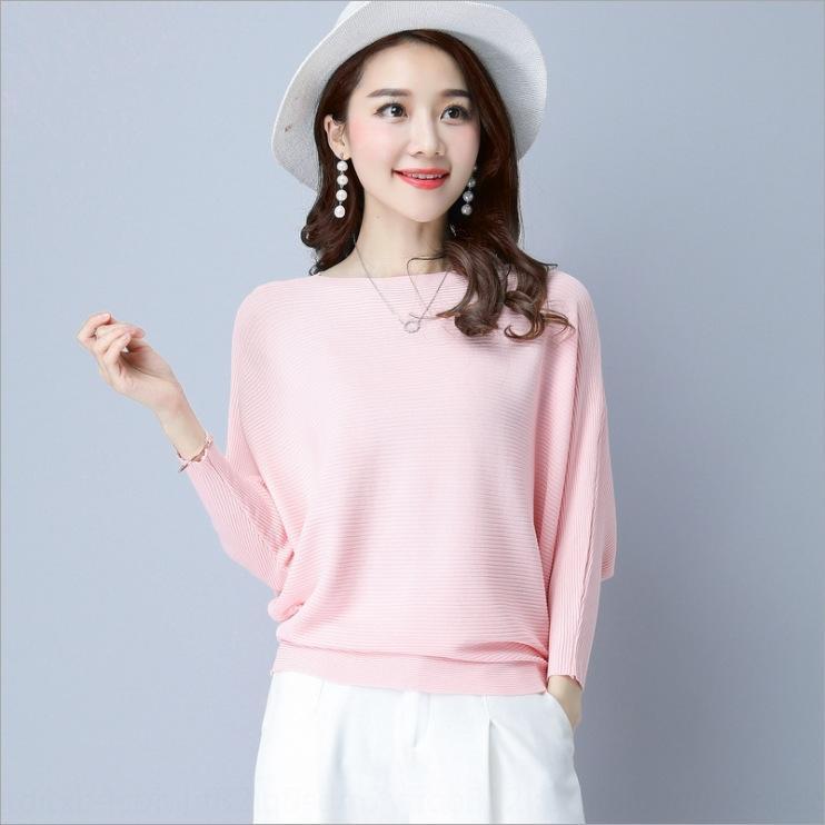 2020 осенью новый сплошной цвет трикотажного Toptoptop coatsweaterfemale корейская версия летучей мыши рукав тонкого topcomfortable пуловер и тонкий нижний ЕО