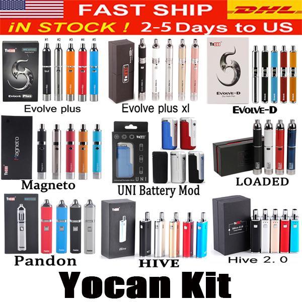 Yocan Loaded Evolve-D Evolve Plus XL Colmena 2.0 Magneto pandon Starter Kit Cera seco hierba Vape pluma gruesa vaporizador de aceite / cera atomizadores