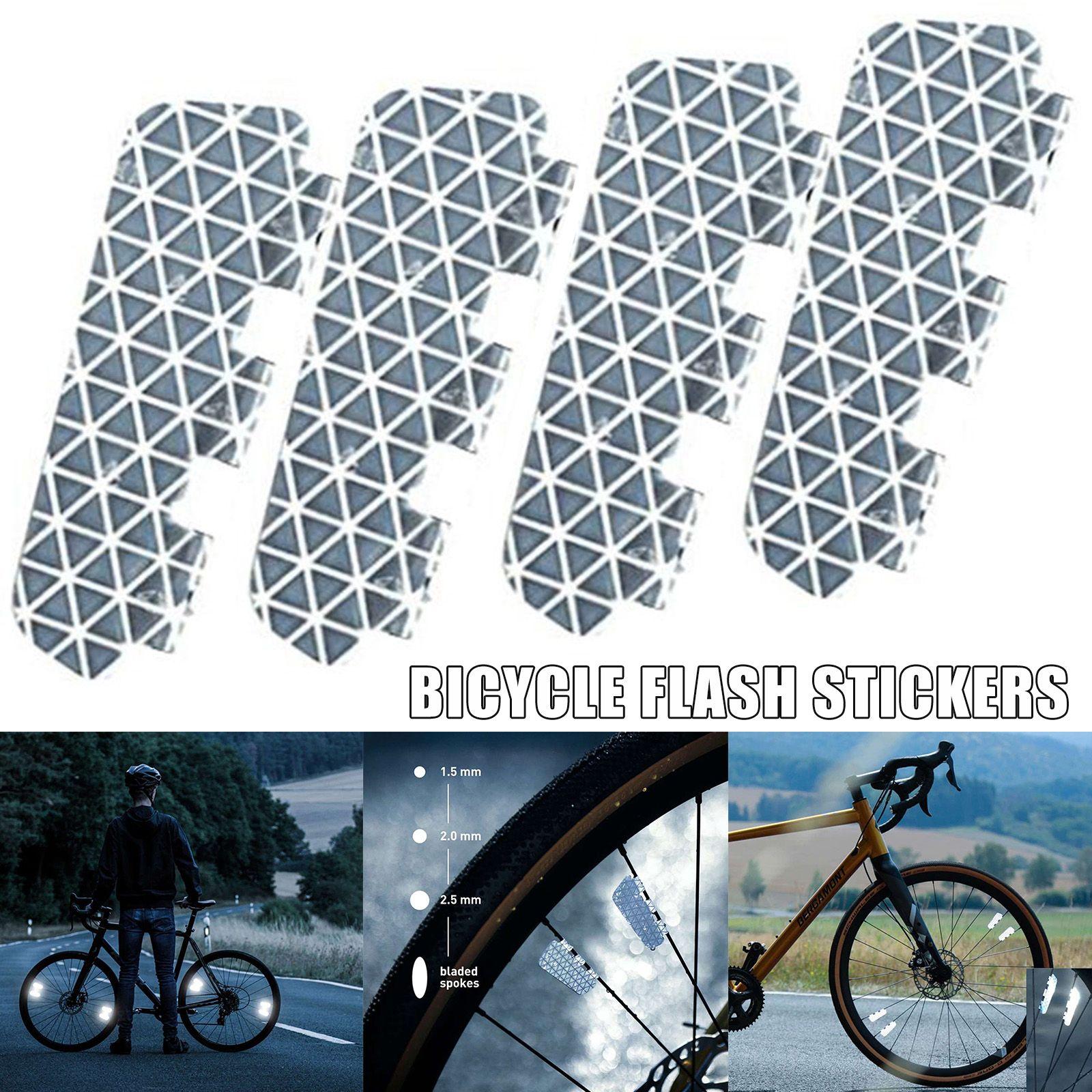 4 / 8pcs Guidare in sicurezza con stile Riflettore bici No Dragole leggero della ruota della ruota della bicicletta Riflettore della bici Autoadesivo riflettente m