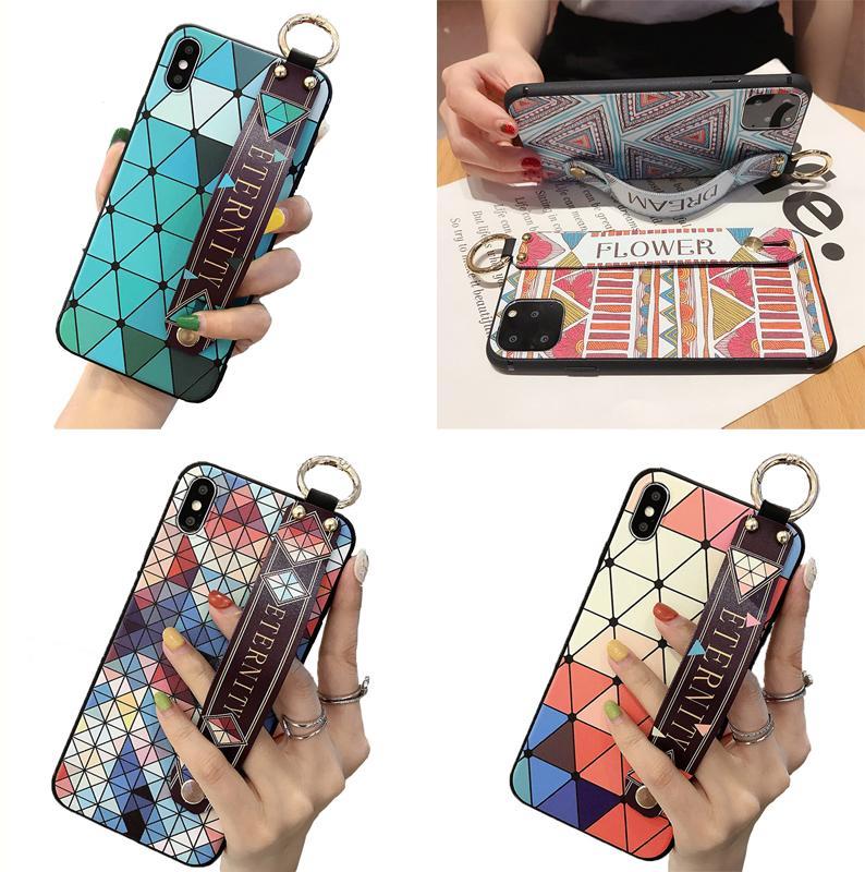 Мягкие чехлы для телефона TPU этнические цветные чертежа Цветочный телефон охватывает браслет чехол для телефона для 11 12 про XR XS MAX 7 8 плюс