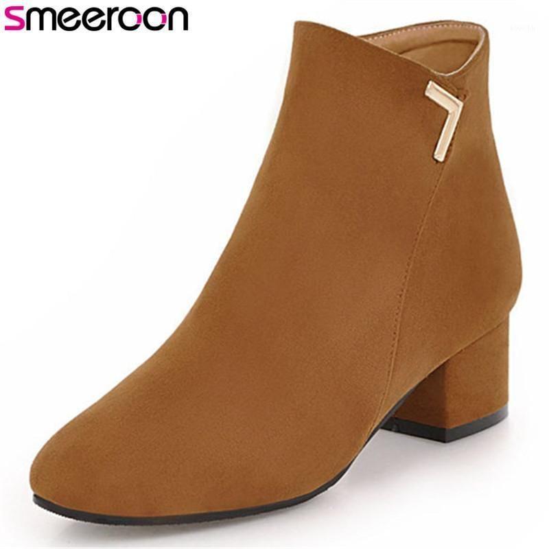Smeeraon Popular Otoño Botas de invierno Toe Square Toe Boots Zip Med Tacones Tobillo para las mujeres Zapatos de baile Big Tamaño 34-431