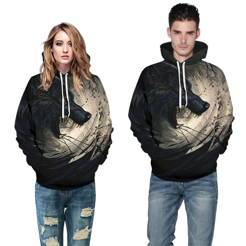Gedruckt Plus Size Paar Verschleiß Mit Kapuze Pullover Mode Top