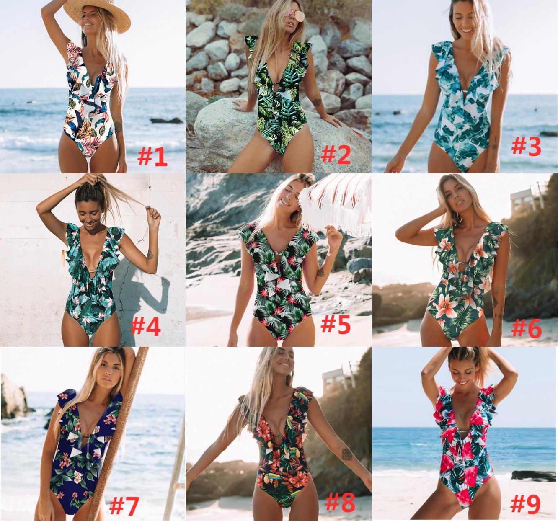 Sexy One Piece Swimsuit Push Up Swimwear Women Ruffle Monokini Adjustable Shoulder Swimsuit Bodysuit Bathing Suit Swim Wear
