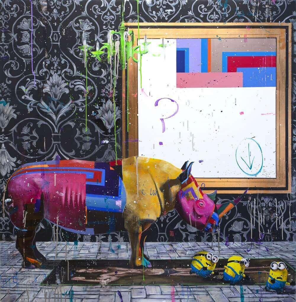 Angelo Accardi quello che è successo la pittura per il rinoceronte della decorazione della casa, olio su tela di arte della parete della tela di canapa Immagini Per Soggiorno 201003