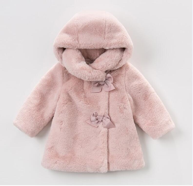 الوردي الأطفال معطف مقنع الخريف والشتاء الدفء فتاة واحدة سترة زر القطيفة مبطن الملابس القطنية