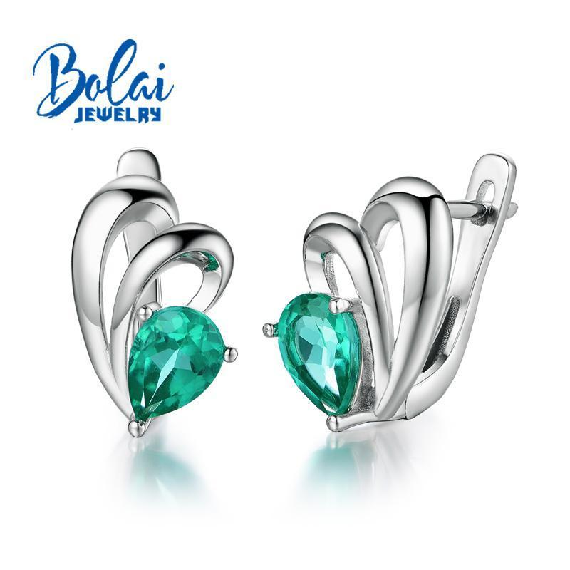 Bolaijewelry, Criado verde esmeralda pêra 5 * 7 milímetros brinco de prata esterlina 925 finas jóias para as mulheres melhor presente