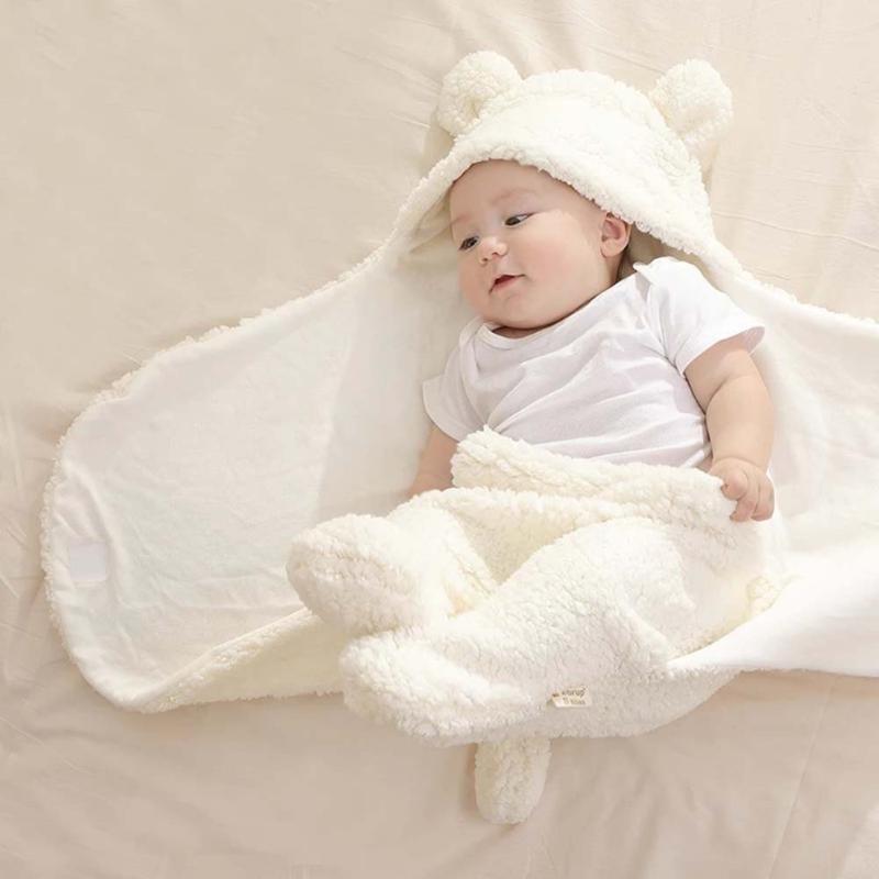 الشتاء الطفل بطانية لطيف الكرتون الدب آذان الوليد قماط التفاف الدافئة للجنسين الرضع كيس النوم الناعمة المغلف الاطفال الفراش لحاف Y201009