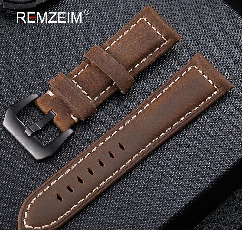 Banda de reloj de cuero genuino 20 mm 22 mm 24 mm 26 mm Crazy Horse Nubuck Sports Reloj al aire libre Banda de la banda de hebilla Relogio Pulseira LKFRW
